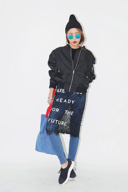 The Surrealist, So-Wrong-It's-Right Stuff Selling At Our Favorite Korean Shop #refinery29  http://www.refinery29.com/stylenanda-korean-fashion-trends#slide-13  Rocking the whole skirt-over-pants look......