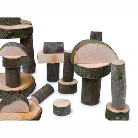 Bouwblokken Natuur, houten blokken, bouwen voor peuters en kleters, boomstammetjes,Bouwblokken Natuur boomstammen, bouwen met stammen