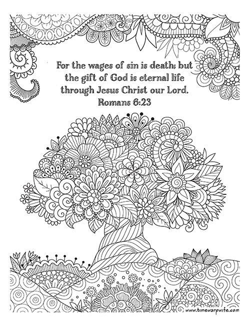 FREE PRINTABLE Christian coloring sheets with Bible verses. A new coloring sheet is posted every Friday. A great stress reliever and they look so pretty framed, from @Darlene Schacht (TimeWarpWife.com)