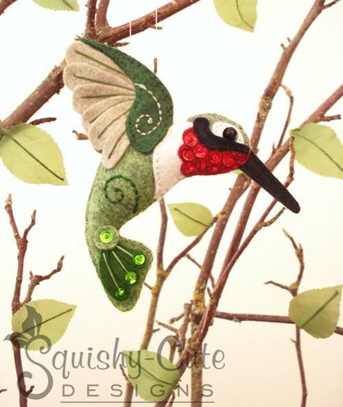 Free Felt Animal Patterns | Felt Hummingbird ... by Squishy-Cute Designs | Sewing Pattern
