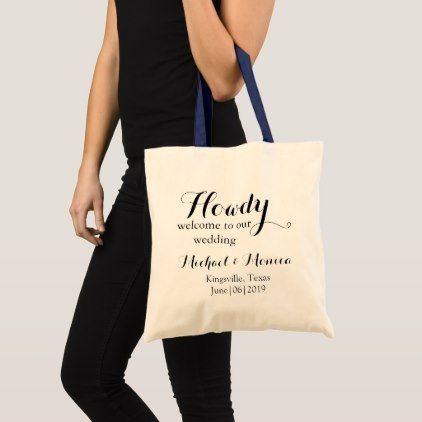 Howdy welcome Custom Wedding Hotel Gift Tote Bag - rustic gifts ideas customize personalize