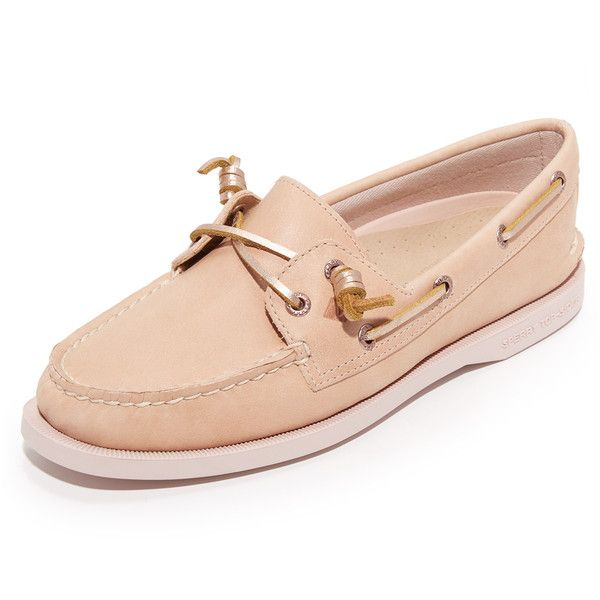 Sperry A/O Vida Boat Shoes ($97) ❤ liked on Polyvore featuring shoes, rose, boat shoes, sperry topsiders, cushioned shoes, rubber sole shoes and slip on deck shoes