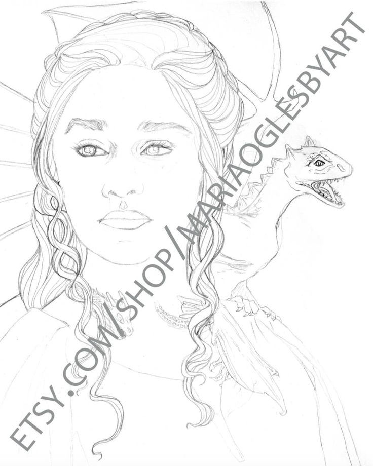 DIGITAL DOWNLOAD Game Of Thrones Portraits Daenerys Stormborn And Jon Snow Coloring Pages Downloadable