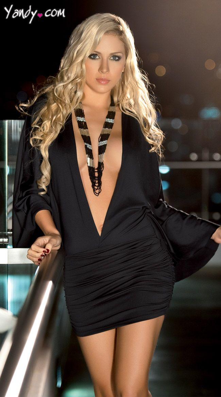 Low cut black cocktail dress