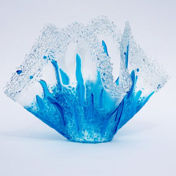 Fused glass vase with crystalized edges  the by License2Kiln