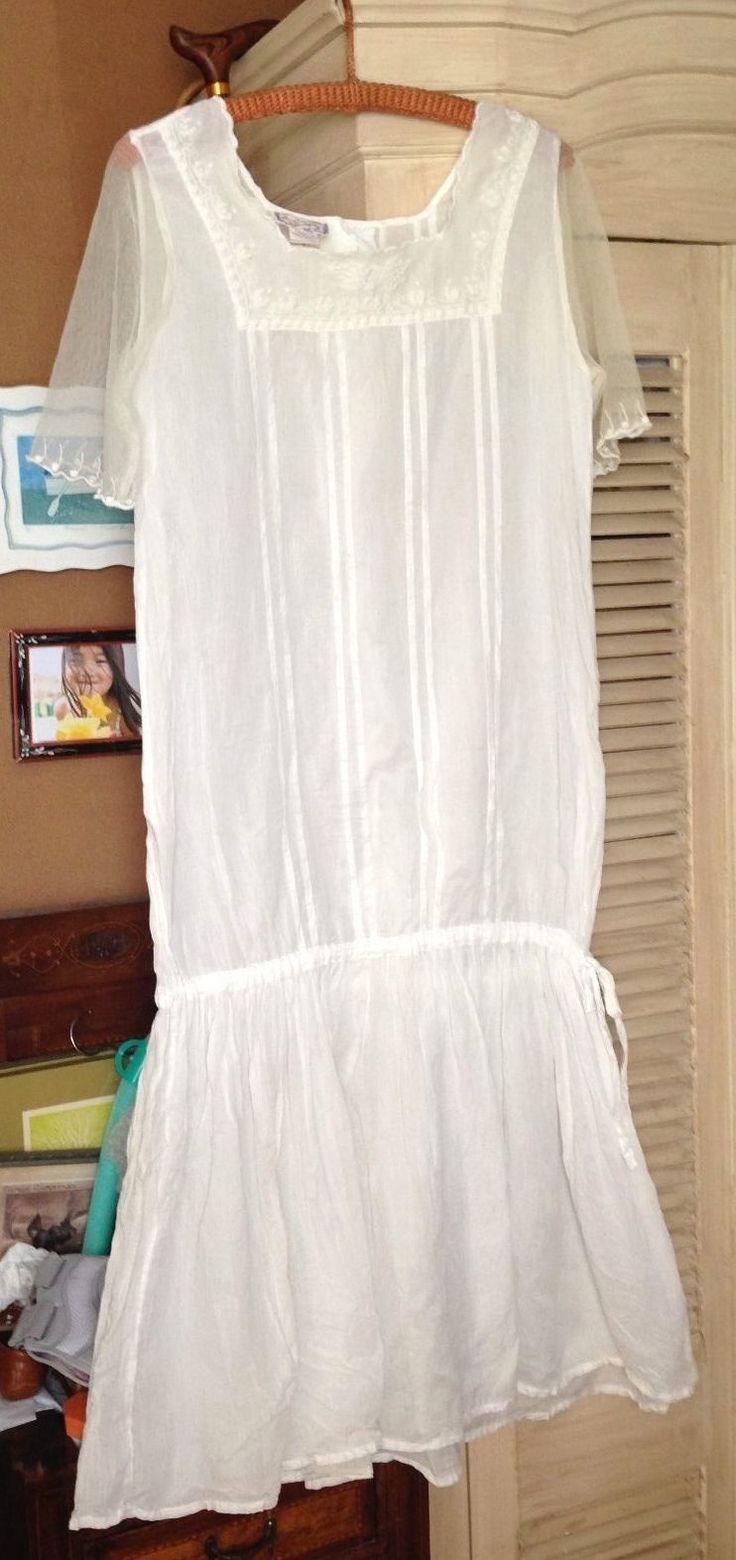 Victorian Trading Co April Cornell Victorian Nightgown Sm. Ecru Lace EX +   eBay