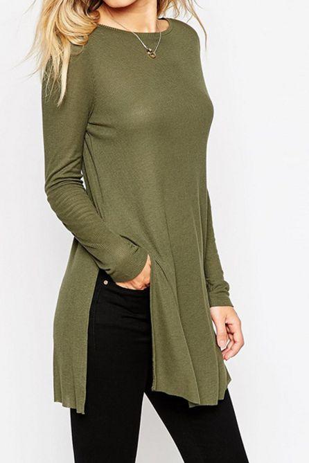 Otoño Invierno Mujeres sólido de la manera División Verde Negro O-Cuello lateral de manga larga camiseta Mujeres top
