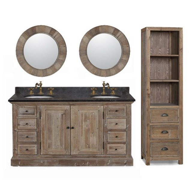 60 Inch Marble Top Double Sink Rustic Bathroom Vanity With