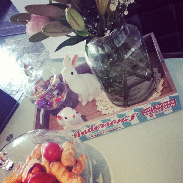 Our Wooden Cherryade Crate Tray being put to good use - adorning flowers, little Rabbit night lights and chocolate treats!
