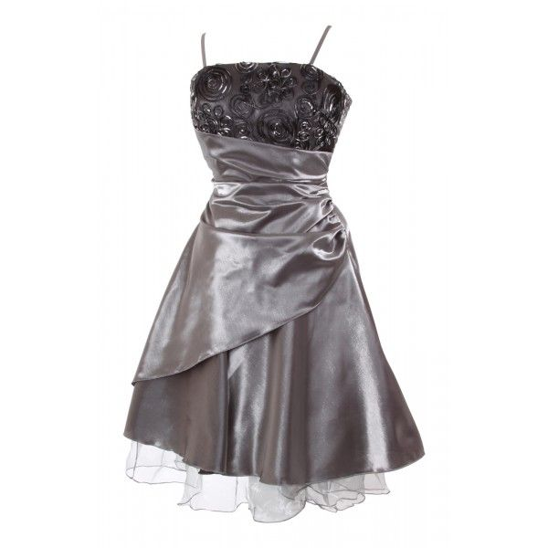 Modern Multi-layered #Cocktail #Dress This is an elegant multi-layer shiny satin #prom #dress with spaghetti straps and floral detail. #MyEveningDress2