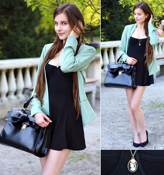 Nameless Mint Blazer, American Apparel Black Bra Bodysuit, Romwe Retro Ruffle Black Skirt, Udobuy Black Bag With Bow, Nicole Black Pointed Toe Heels, Chicwish Cameo Necklace