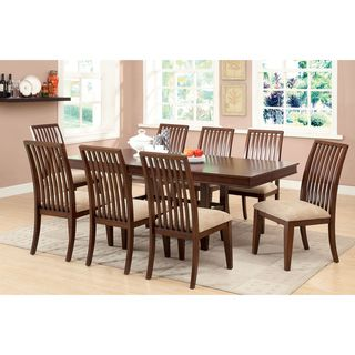 7 Pc Prairie Collection Transitional Style Brown Cherry Finish Wood Dining  Table Set With Slat Back Chairs