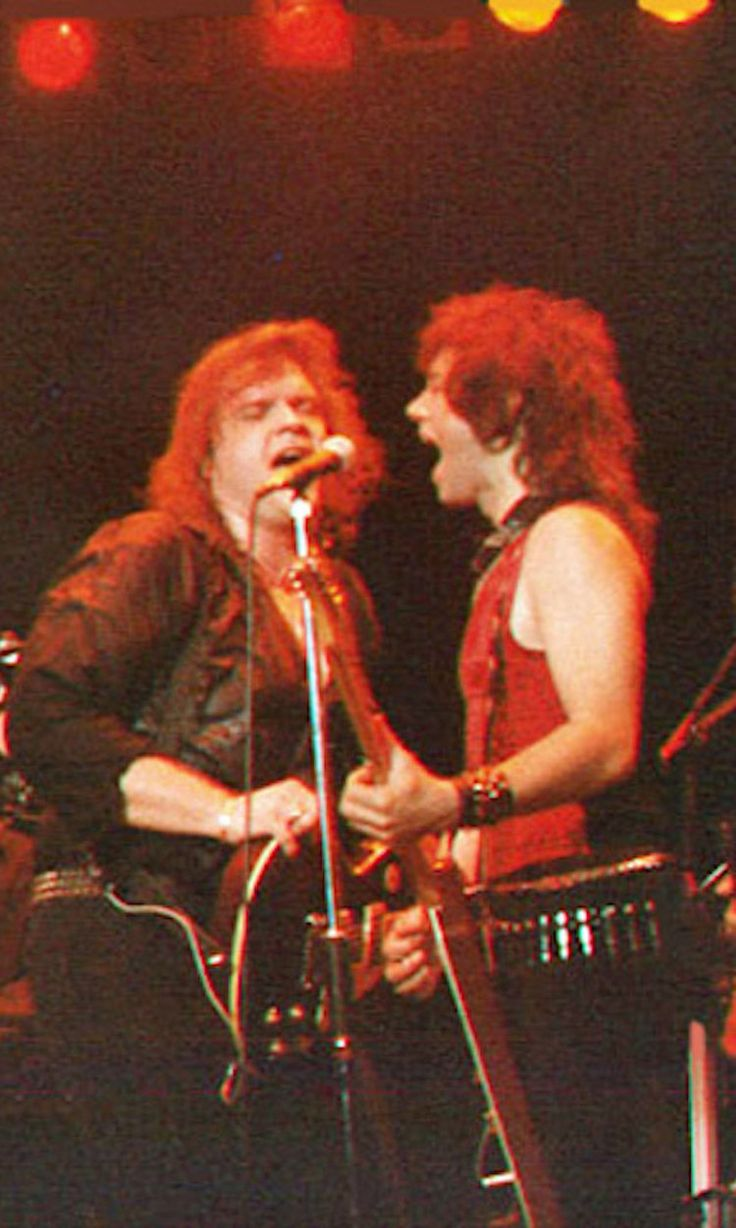 Meat Loaf and Alan Merrill performing at Wembley Arena, London England 1987.