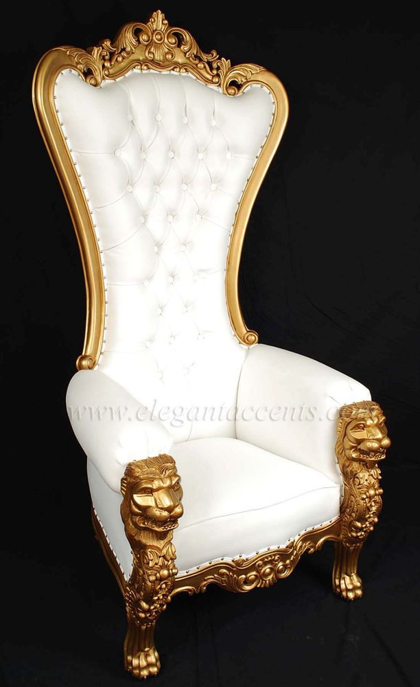 Carved Mahogany Louis XV Beregere Armchair Regal Throne Chair Gold White Vinyl #ElegantAccents #Gothic