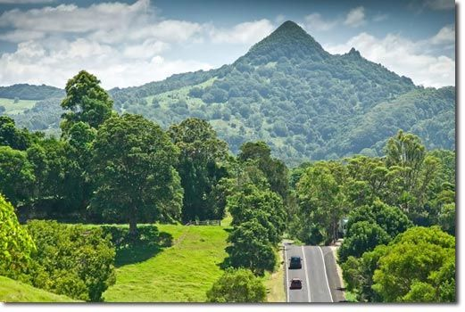 The road into Mullumbimby NSW, Australia - Mt Chincogan watches over the town.