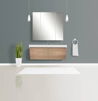 Kolum 1200 Wall Hung Vanity Single Basin Washed Oak with Vasto Top