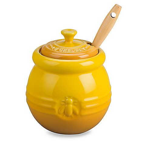 Le Creuset® Honey Pot with Silicone Dipper in Dijon. With 20% off coupon!
