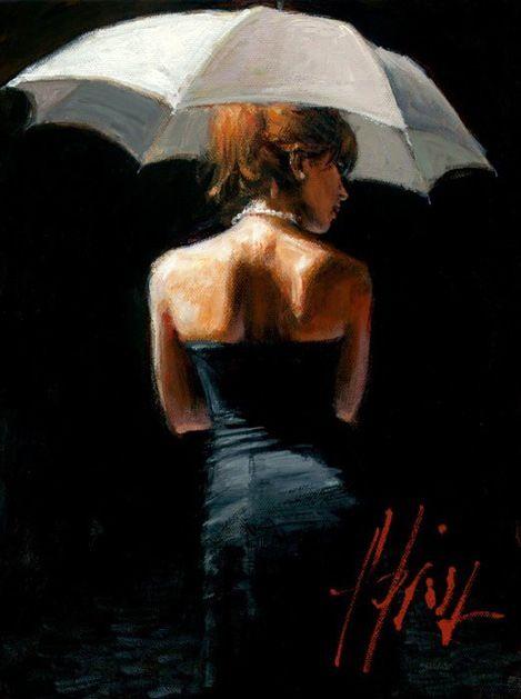 Woman with White Umbrella by Fabian Perez