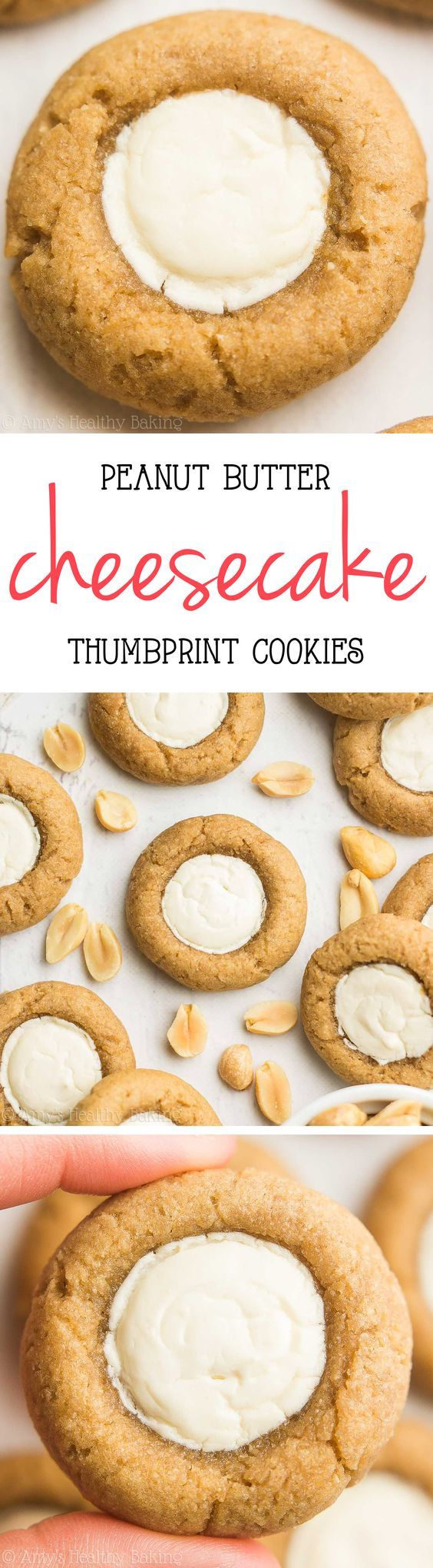 Skinny Peanut Butter Cheesecake Thumbprint Cookies -- this healthy recipe is AMAZING! So easy and just 54 calories!