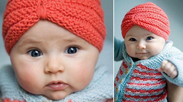 Knitted baby turbanFree Pattern, Free Knits, Baby Turbans, Baby Jackets, Daisies Baby, Knits Pattern, Knits Baby, Baby Hats, Knits Hats