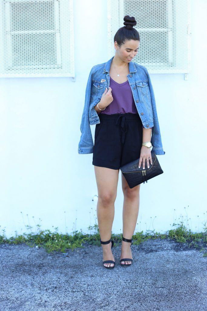 """New on BisousBrittany.com: Bauble Bar """"Bisou"""" pin- Topknot - American Eagle Leather Jacket and Henri Bendel croc clutch! #blogger #fashionblogger #baublebar #henribendel"""