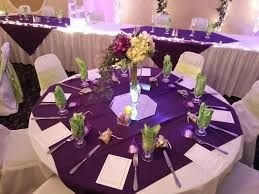 Image result for purple tablecloth with grey runner