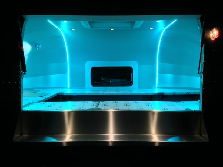 Our new Mini Rocket catering trailer showing it's multi colour change led lighting system.