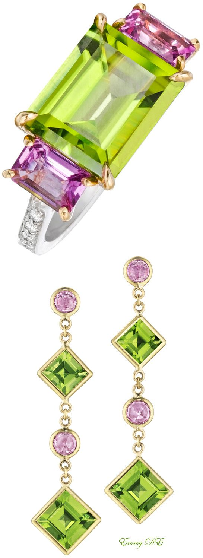 "Emmy DE * Paolo Costagli Peridot & Pink Sapphire ""Florentine"""