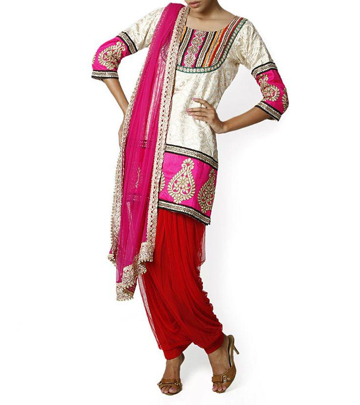 White, Pink & Red Salwar Kameez