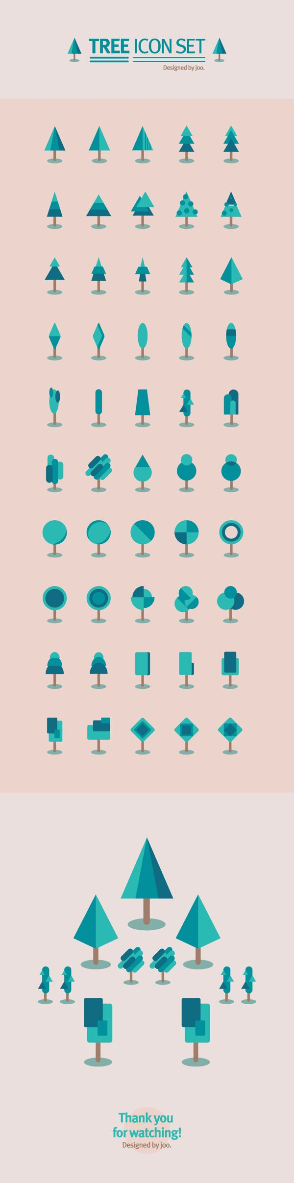 I love this! Here we have one idea: a tree. But you have a few basic shapes that make up so many combinations. However, they all read the same way: a tree. A few small elements can become many different compositions. So many possibilities.