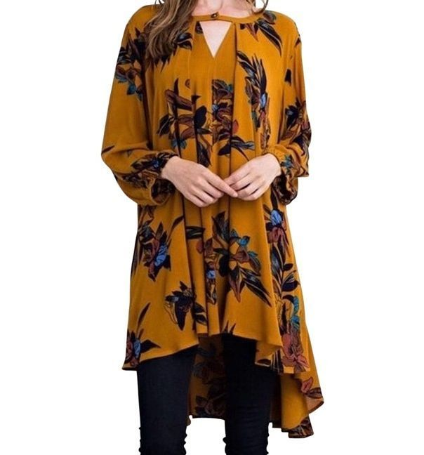SOUTHERN GIRL FASHION $68 Floral Printed Swing Tunic Bohemian Mini Dress S M L #Boutique #Tunic #Casual