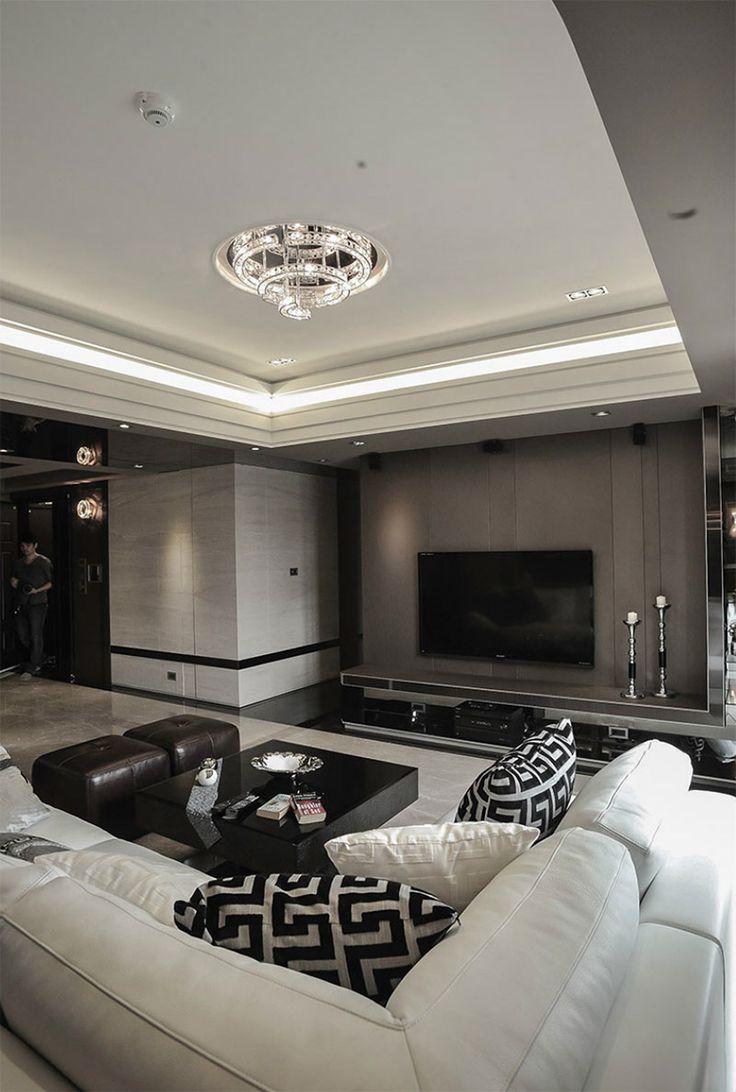 Tv, olohuone, valaistus, sävyt, sisustus, luksus