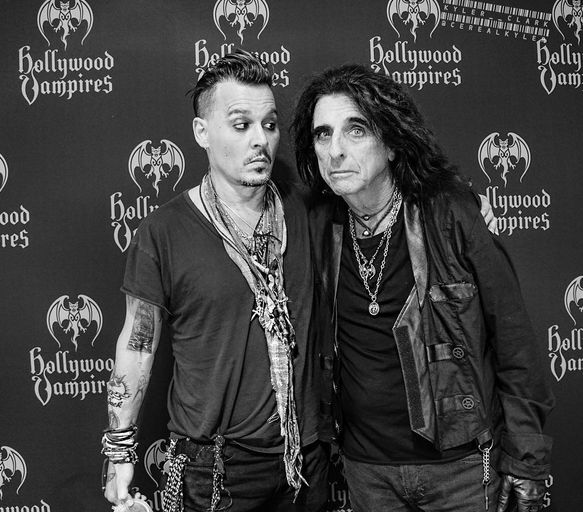 "only-johnny-depp: "" ""Johnny and Alice goofing off backstage before a Hollywood Vampires meet and greet. Who wouldn't want to have a photo with these two?!"" Photo by: Kyler Clark """