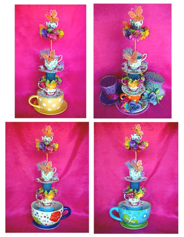 Giant TEA CUP TOWER CENTERPIECE Tea Party Alice Mad Hatter Princess Fairy Tea Cup Decoration. $125.00, via Etsy.