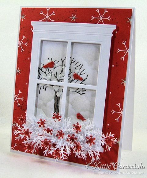 Wintery/Christmas card (Another Window Card) soooooo many beautiful cards!  @Miranda Marrs Marrs Matteson, you would do SO good with this!! :-)