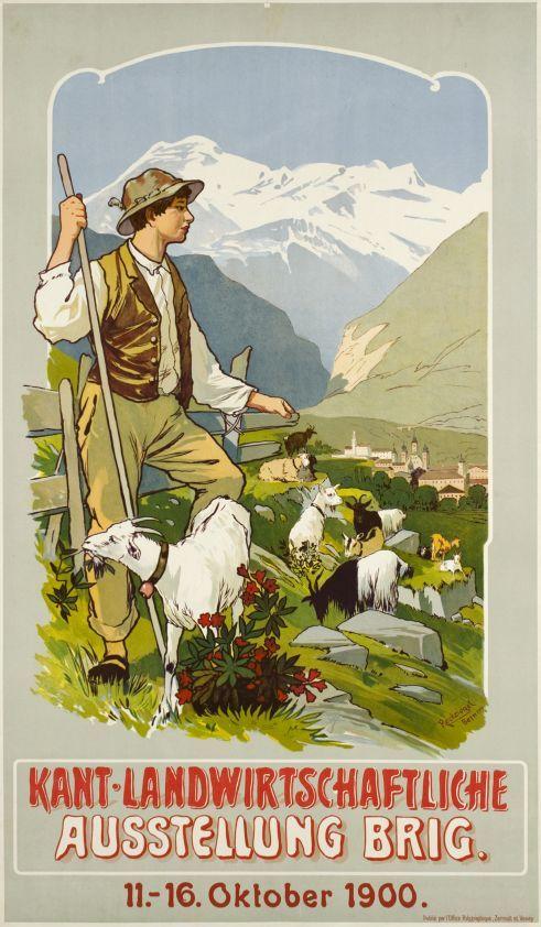 Brig, Kant-Landwirtschaftliche Ausstellung (by Reckziegel Anton / 1900) Agricultural Exhibition, Brig 1900 in the canton of Valais (Wallis), Switzerland