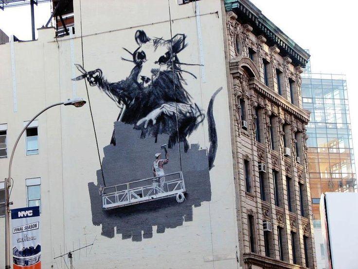Banksy in new york street art pinterest usa york for Banksy rat mural