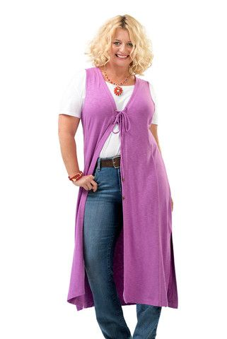 The Rhoda Retro Long Vest in Orchid. Perfect for layering in fall. Sizes 12/14 and 16/18. Made in USA. On Sale Now at www.charlieagogo.com