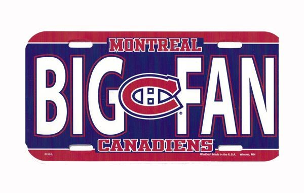 """Montreal Canadiens """"Big Fan"""" License Plate"""