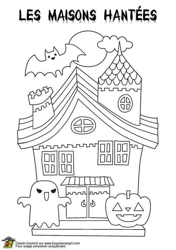 Dessin à colorier d'une maison hantée pour Halloween ...
