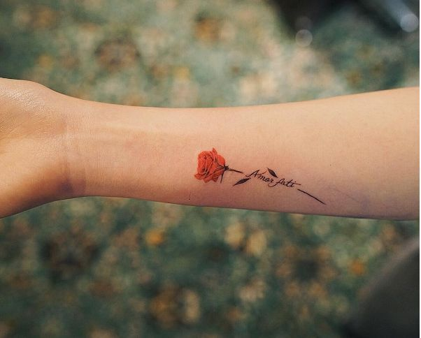 Image result for wrist writing tattoos shape of heart with rose