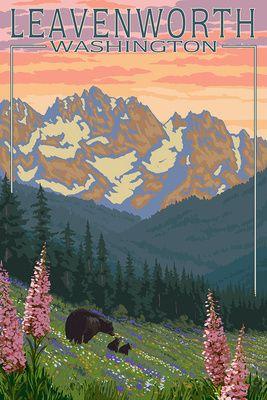 Leavenworth, Washington - Bears and Spring Flowers - Lantern Press Artwork