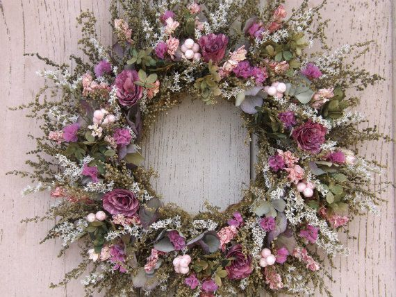 Dried Flower Wreath with Dried Roses and Hydrangeas. $25.00, via Etsy.