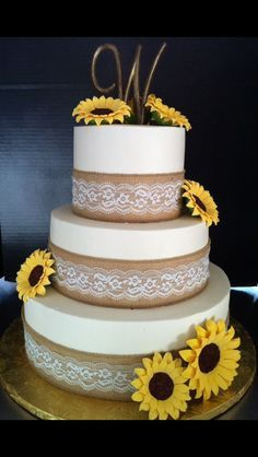 Burlap and Lace Sunflower Wedding Cake