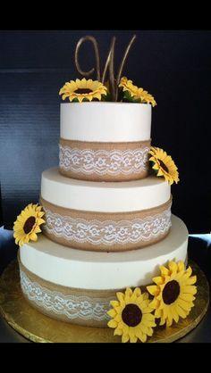 Burlap and Lace Sunflower Wedding Cake