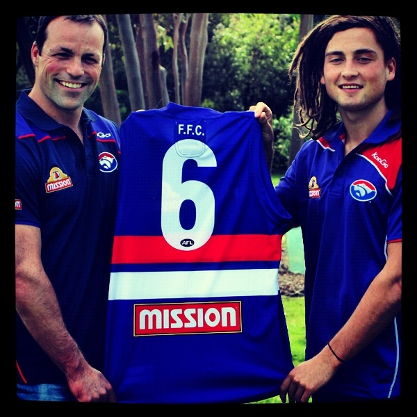 Our new #6 Luke Dahlhaus with Western Bulldogs champion #6 Brad Johnson!