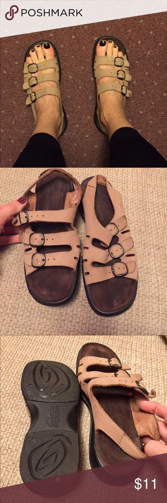 Women's Tan Sandals  Clarks Women's Tan Sandals Clarks, very comfortable,  a tiny bit of a lift, only worn in the house a few times I wanted them to work but they are just too small for me, size 6. Clarks Shoes Sandals