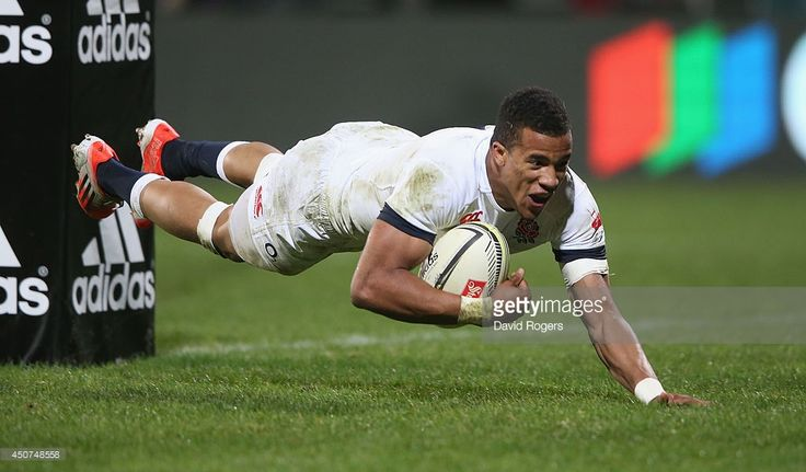 Anthony Watson of England dives to score a try during the match between the Crusaders and England at the AMI Stadium on June 17, 2014 in Christchurch, New Zealand.
