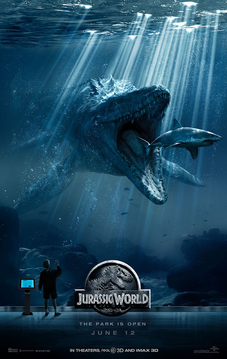 "My, what big teeth you have! Here's the newest Jurassic World poster, released ahead of the new trailer which drops on Monday. It depicts Mosasaurus, ""the immense seagoing lizard,"" swimming up to nibble on what would normally be a pretty scary-looking shark, but here kinda resembles a Goldfish cracker."