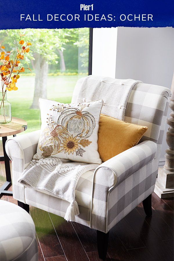 Warm Up Neutral Fall Decor With Energizing On Trend Shades Of Ocher We Love This Mix Of Solid And Printed Pillows Paired Neutral Fall Decor Fall Decor Decor